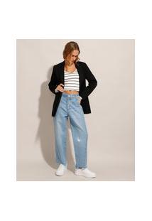 Calça Reta Jeans Com Puído Cintura Média Azul Claro