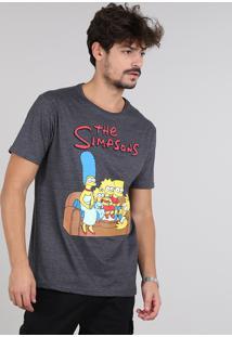 Camiseta Masculina Os Simpsons Manga Curta Gola Careca Cinza Mescla Escuro