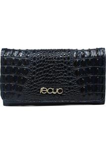 Carteira Em Couro Recuo Fashion Bag Croco Azul Marinho/Verde