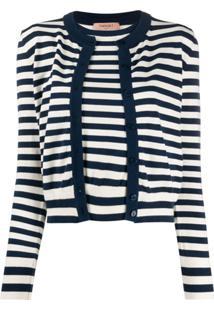 Twin-Set Layered Style Striped Cardigan - Branco
