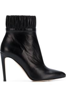 Chloe Gosselin Ankle Boot De Couro Com Franzido - Preto
