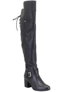 Bota Couro Bottero Over The Knee Feminina - Feminino-Preto
