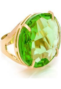 Anel Kumbayã¡ Oval Cristallo Semijoia Banho De Ouro 18K Cristal Verde - Verde - Feminino - Dafiti