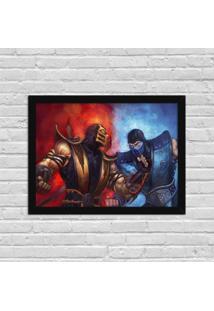 Quadro Decorativo Gamer Scorpion Vs Sub Zero Mortal Kombat Preto - Médio