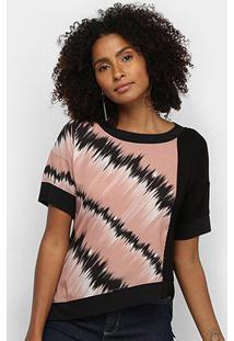 Camiseta Acostamento Assimétrica Estampada Feminina - Feminino