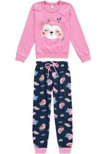 Pijama Longo Estampado Brilha No Escuro Malwee Liberta Malwee Liberta Feminino - Feminino-Rosa