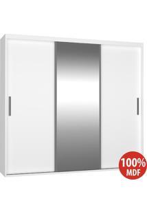 Guarda Roupa 3 Portas De Correr Com 1 Espelho 100% Mdf 1973E1 Branco - Foscarini