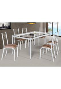 Conjunto De Mesa De Cozinha Com 6 Lugares Camila Corino Branco E Capuccino