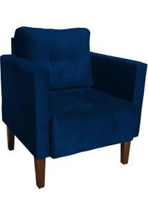 Poltrona Decorativa Lívia Para Sala E Recepção Suede Azul Marinho - D'Rossi