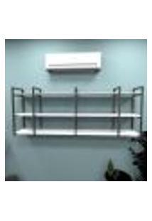 Estante Industrial Escritório Aço Cor Preto 180X30X68Cm (C)X(L)X(A) Cor Mdf Branco Modelo Ind34Bes