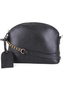 Bolsa Couro Shoestock Transversal Meia Lua Feminina - Feminino-Preto