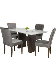 Conjunto Sala De Jantar Mesa E 4 Cadeiras Delazari Canadá, Imbuia - 191102