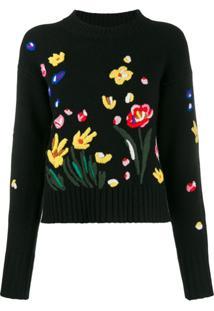 Chinti & Parker Suéter Com Bordado Floral - Preto