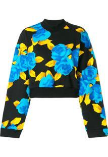 Msgm Cropped Jersey Sweater - Preto