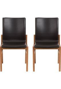 Conjunto De Cadeiras Camã©Lia - 2 Peã§As - Couro Preto