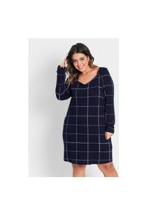 Vestido Plus Size Quadriculado Rovitex Plus Azul