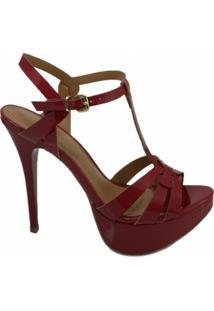 Sandália Salto Alto Tiras Lisbella - Feminino-Vermelho