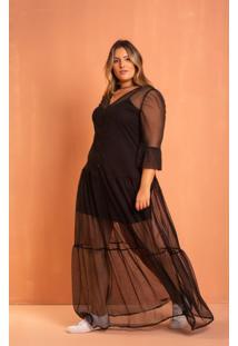 Vestido Longo Tule Black Domenica Solazzo