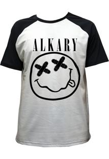 Camiseta Alkary Raglan Manga Curta Nirvana Branca E Preta