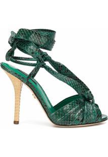 Dolce & Gabbana Sandália Com Fechamento Por Amarração - Verde