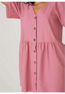 Vestido Evasê Com Decote V Em Viscose Sarjada Rosa
