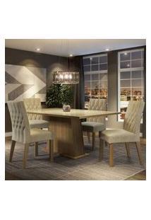 Conjunto Sala De Jantar Madesa Grazi Mesa Tampo De Vidro Com 4 Cadeiras Rustic/Crema/Imperial