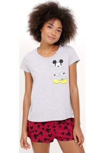 Pijama Manga Curta Estampa Mickey