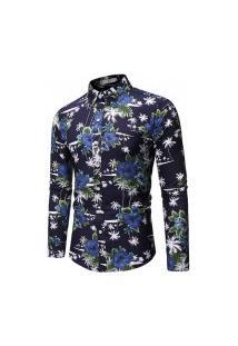 Camisa Masculina Floral Summer - Azul Escura