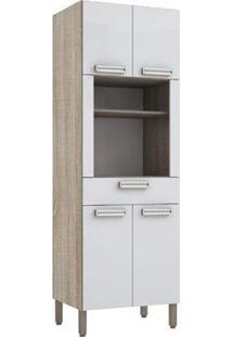 Paneleiro 4 Portas E 1 Gaveta Ametista Nogal/Branco - Lc Móveis