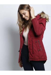 Jaqueta Com Pelãºcia & Capuz- Vermelho Escuro- Susan Susan Zheng