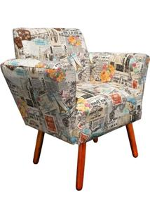 Poltrona Decorativa Dora Estampado Jornal Color D07 - D'Rossi