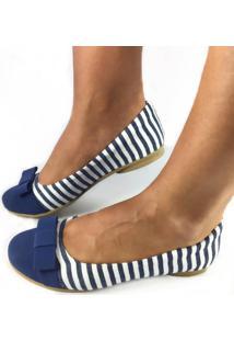 Sapatilha Likka Calçados Bico Redondo Listrada Azul