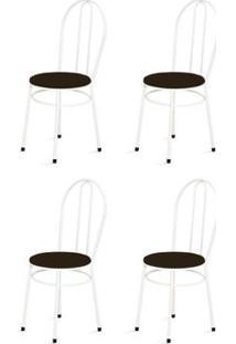 Kit 4 Cadeiras Baixas 0.134 Redonda Branco/Tabaco - Marcheli