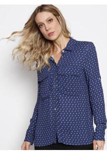 Camisa Ana Com Bolsos - Azul Marinho & Branca - Le Lle Lis Blanc