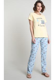 """Pijama Feminino Porco-Espinho """"Vivendo No Limite"""" Manga Curta Amarelo Claro"""