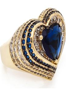 Anel Kumbayá Coração Semijoia Banho De Ouro 18K Cristal Azul E Cravação De Zircônias Detalhe Em Ródio - Kanui