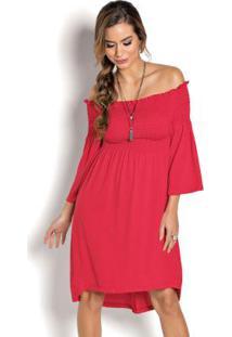 Vestido Mullet Com Elástico Vermelho
