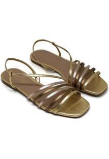 Sandália Rasteira Bellavine Feminina Tiras Elegante Conforto - Feminino-Dourado