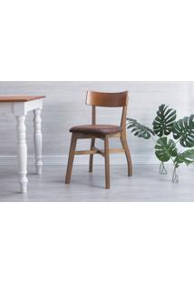 Cadeira De Madeira Estofada Bella - Amêndoa E Couro Marrom Envelhecido Tec. A102 - 44X51X82 Cm