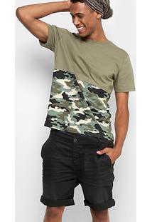 Camiseta Drezzup Color Blocking Camuflada Masculina - Masculino-Verde Militar