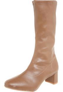 Bota Dafiti Shoes Cano Médio Stretch Marrom