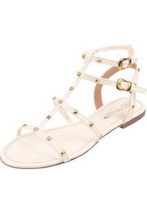 Sandália Rasteira Rosa Chic Calçados Tachas Gladiadora Spike Branca