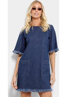 Vestido Tshirt Dress Jeans Cantão Feminino - Feminino-Azul Petróleo