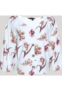 Blusa Feminina Estampada Floral Com Botões Manga Bufante Decote V Branca