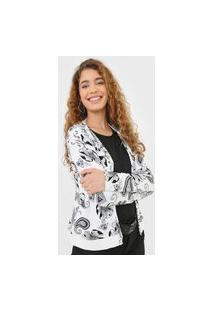 Cardigan Malwee Floral Off-White