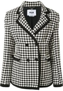 Msgm Double-Breasted Houndstooth Blazer - Branco