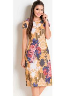 Vestido Com Decote Redondo Floral E Arabesco
