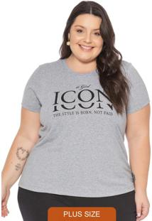 T-Shirt Feminina Básica Com Escrita Icon Cinza
