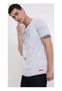 Camiseta Regular Listrada Reversível Com Estampa