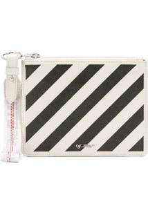 Off-White Clutch Com Listras - Branco